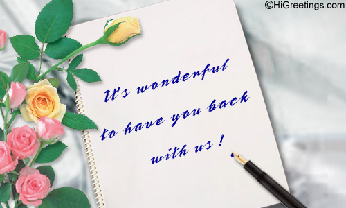 Send ecards welcome back with us again a warm e card to say you are welcome send this welcome back with us again greeting card to your loved ones m4hsunfo