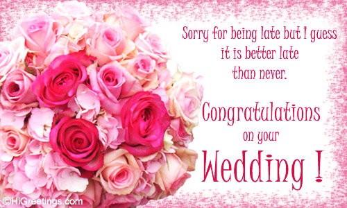 wedding belated card to wish the married couple. Send this Belated ...